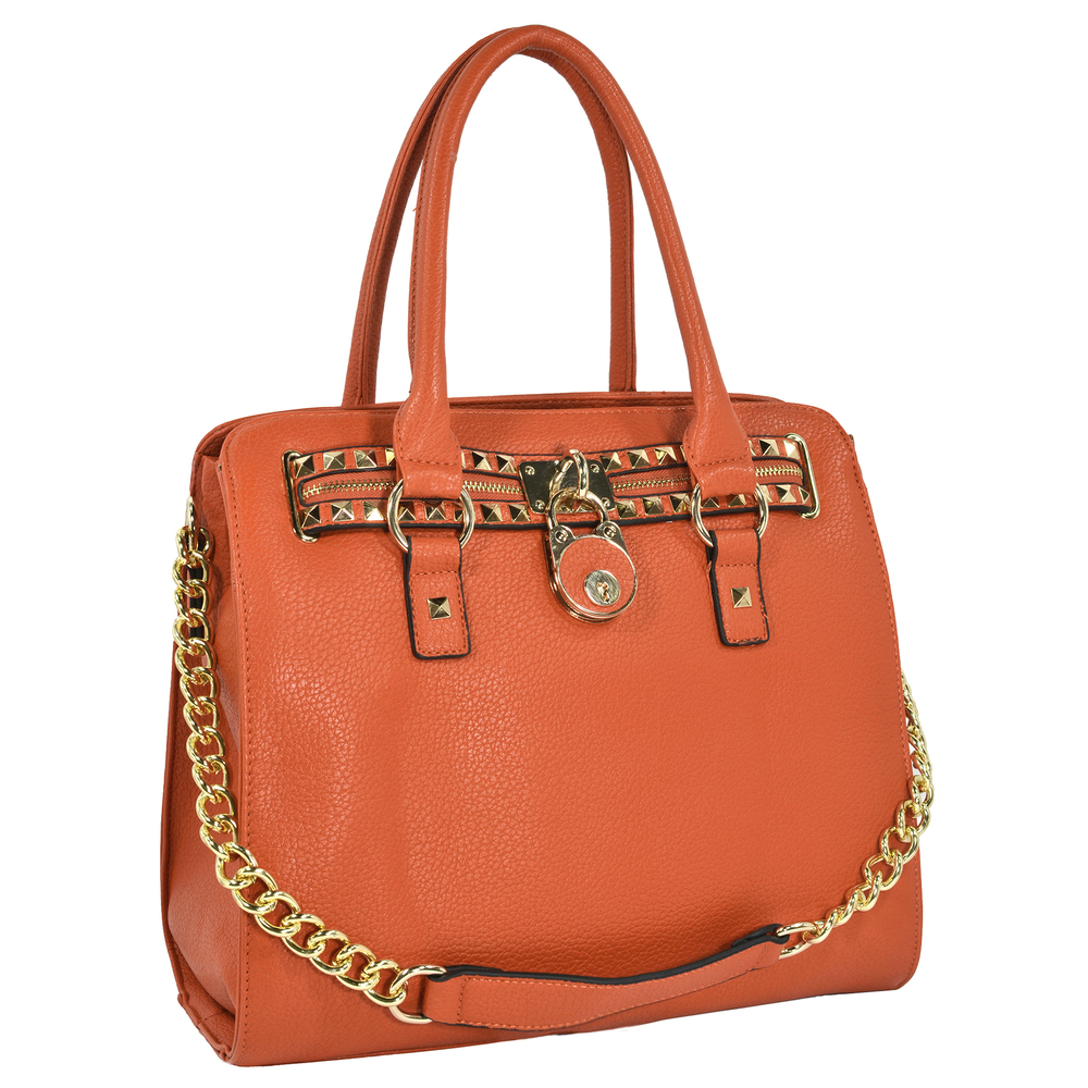 HALEY Orange Bowler Style Handbag main