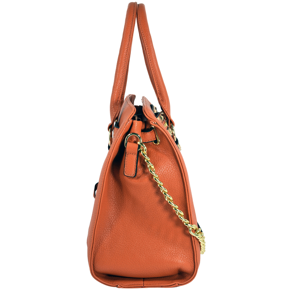 HALEY Orange Bowler Style Handbag Side