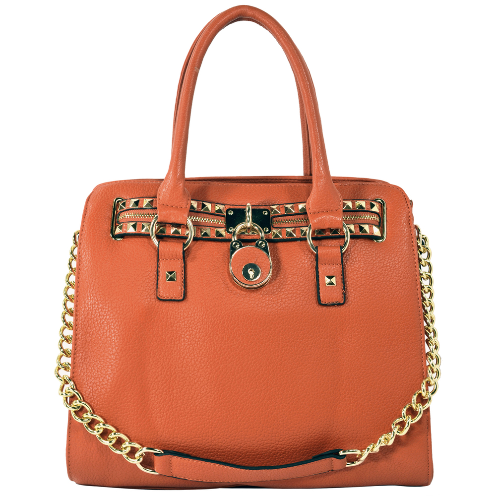 HALEY Orange Bowler Style Handbag Front