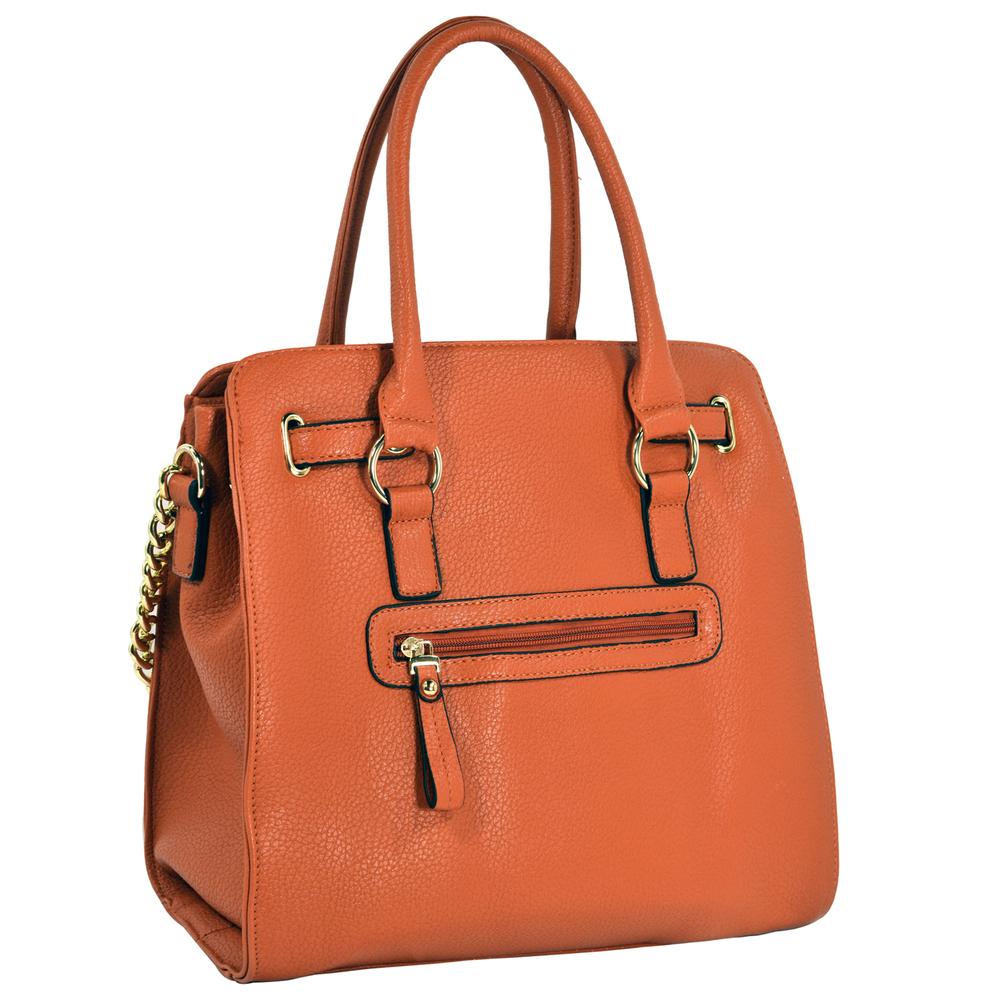 HALEY Orange Bowler Style Handbag Back