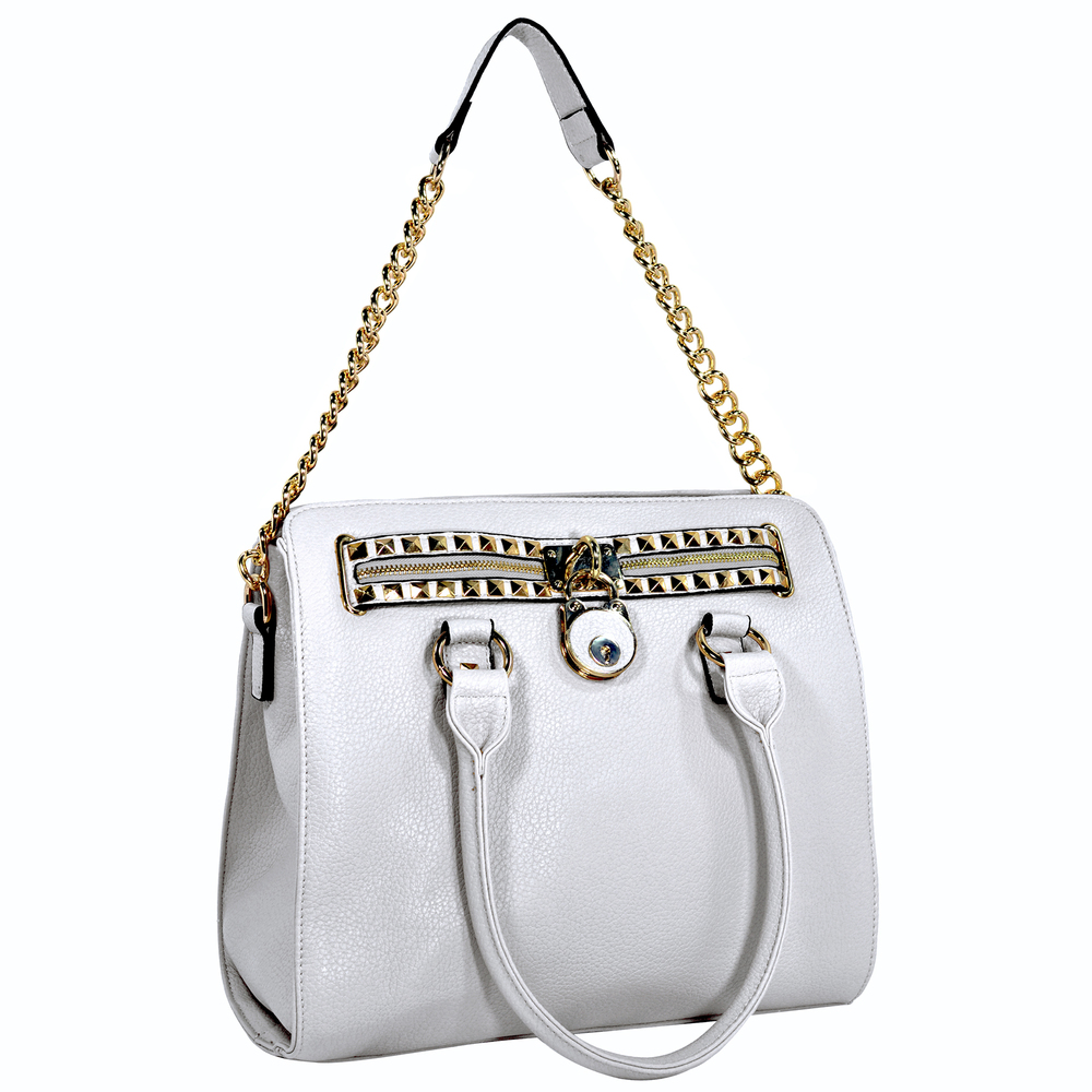 HALEY White Bowler Style Handbag Handle