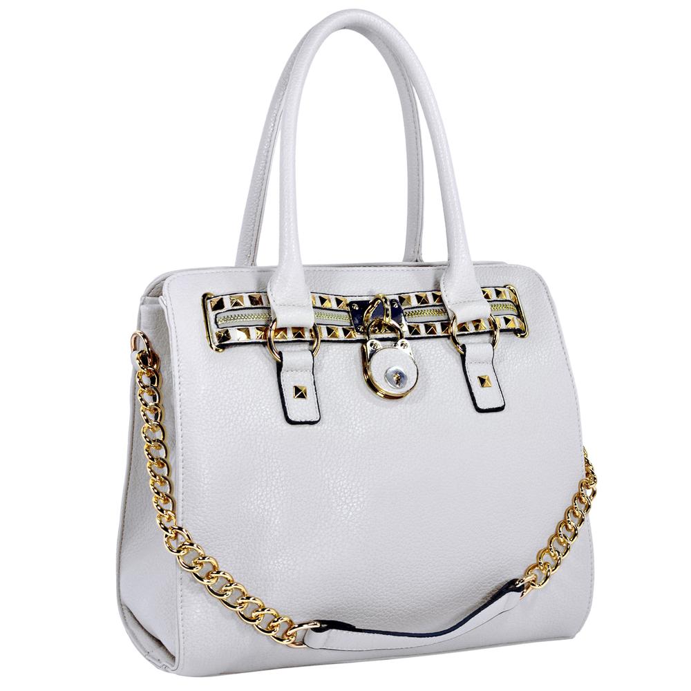 HALEY White Bowler Style Handbag Main