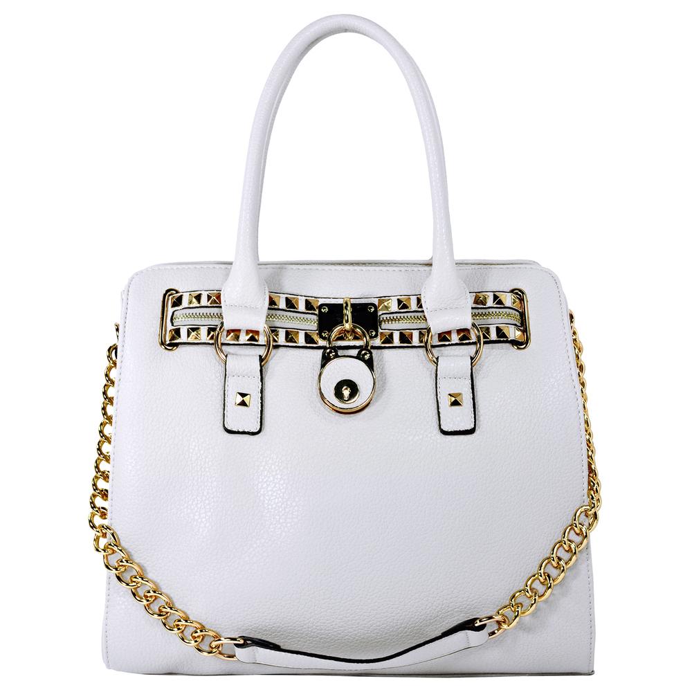 HALEY White Bowler Style Handbag Front