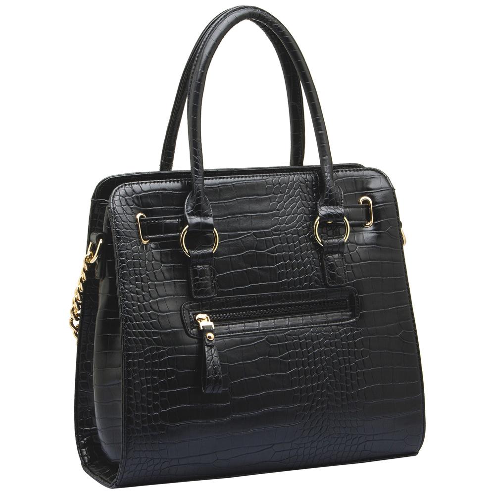 HALEY Black Crocodile Bowler Style Handbag Back
