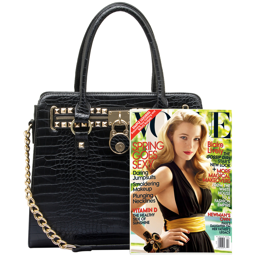 HALEY Black Crocodile Bowler Style Handbag Size