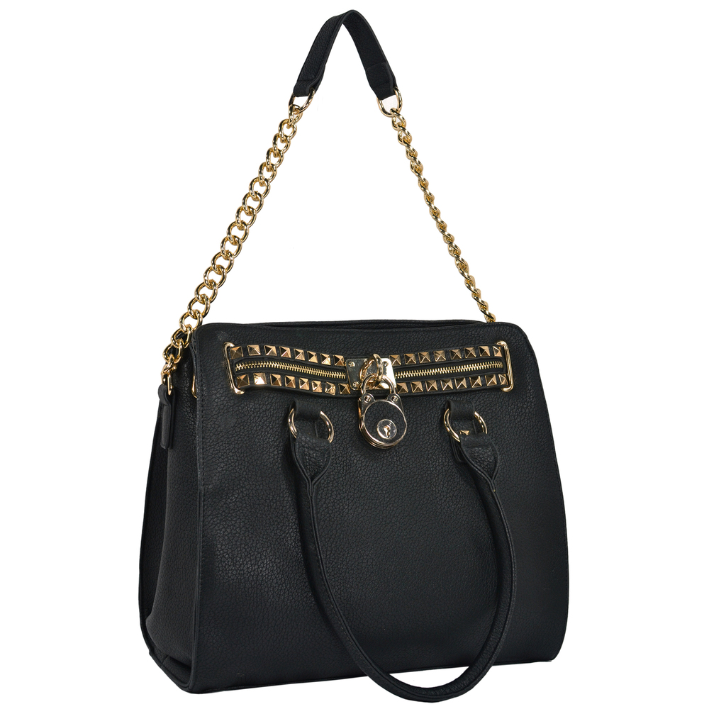 HALEY Black Bowler Style Handbag Handle