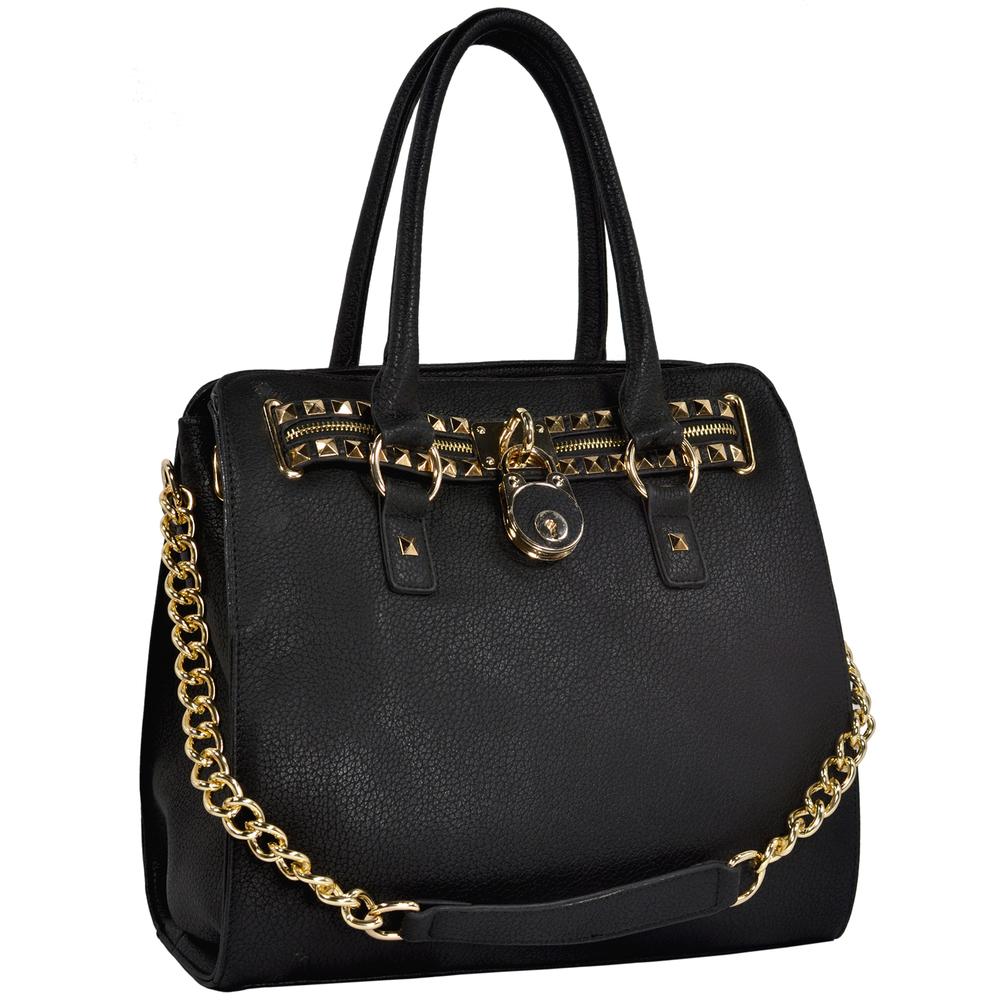 HALEY Black Bowler Style Handbag Main