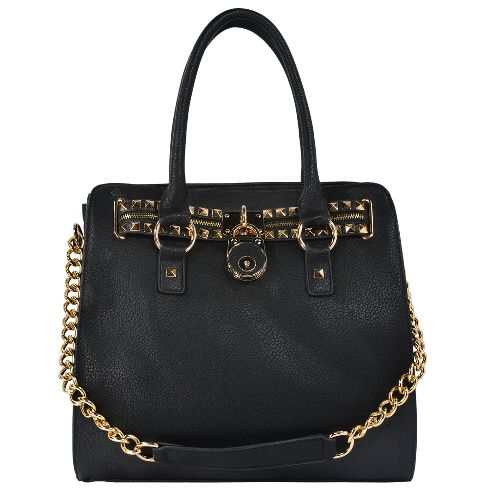 HALEY Black Bowler Style Handbag Front
