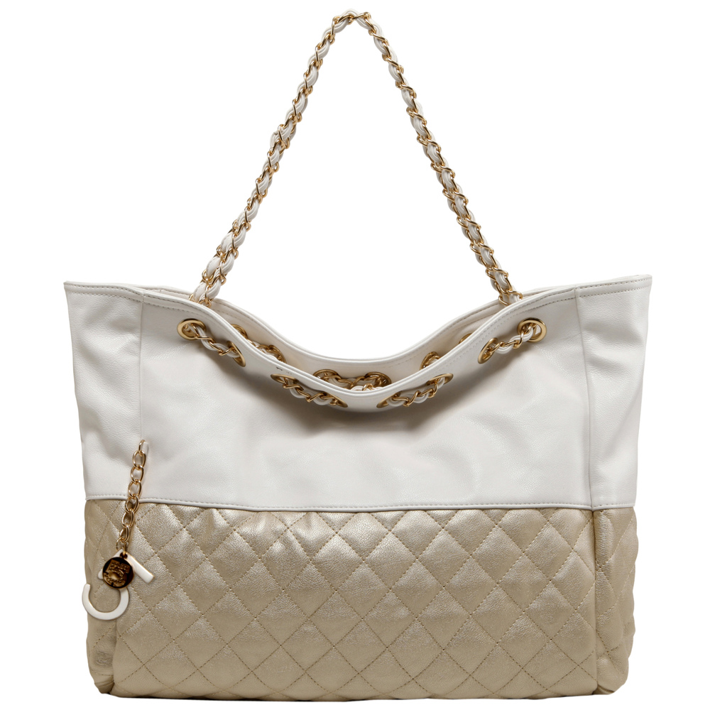 CAMRYN Gold Shoulder Weekender Tote Front