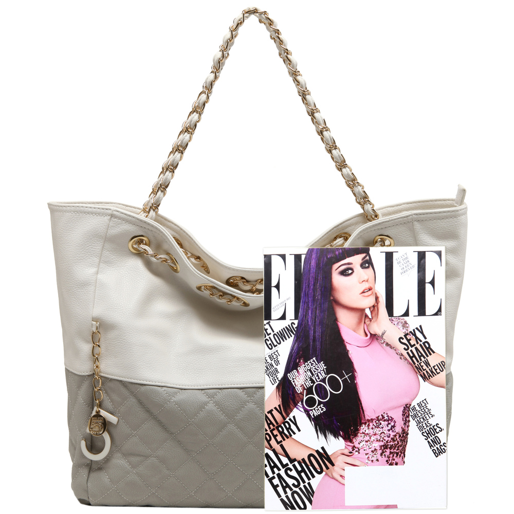 CAMRYN Grey Shoulder Tote Handbag Size