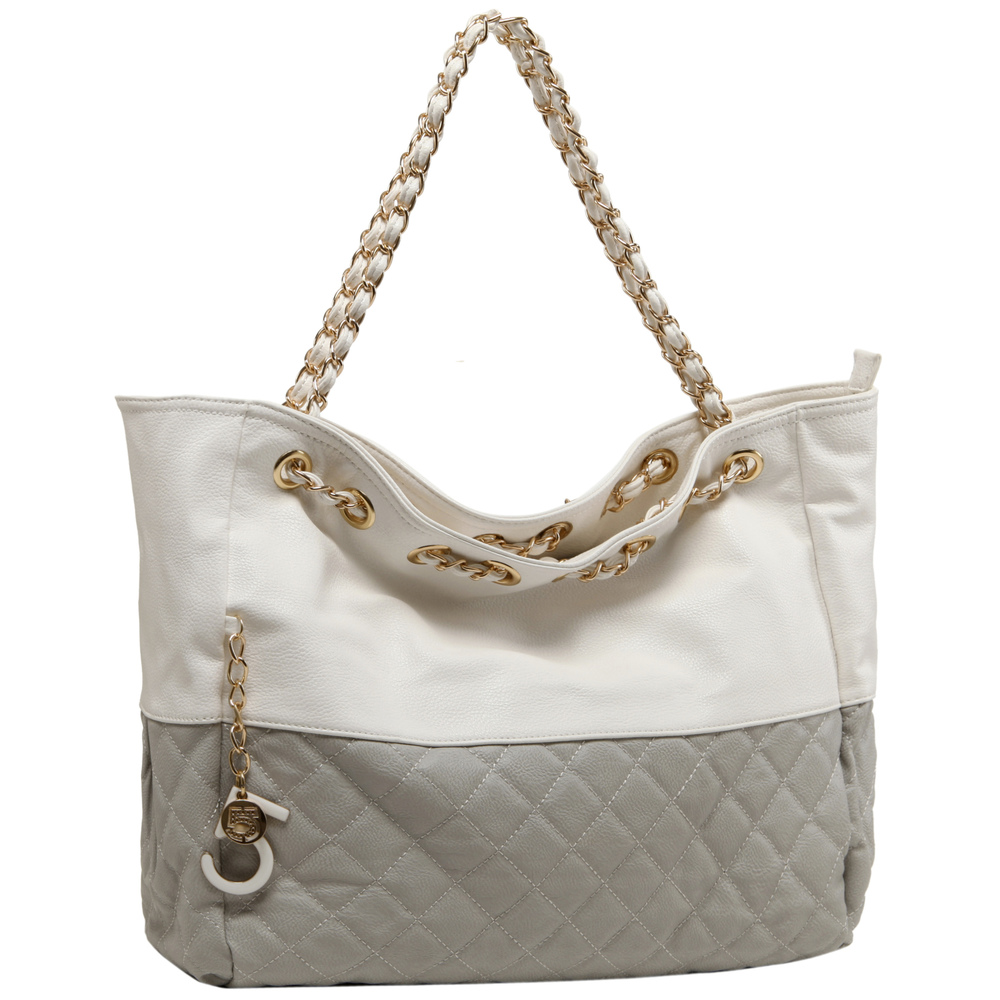 CAMRYN Grey Shoulder Tote Handbag Main