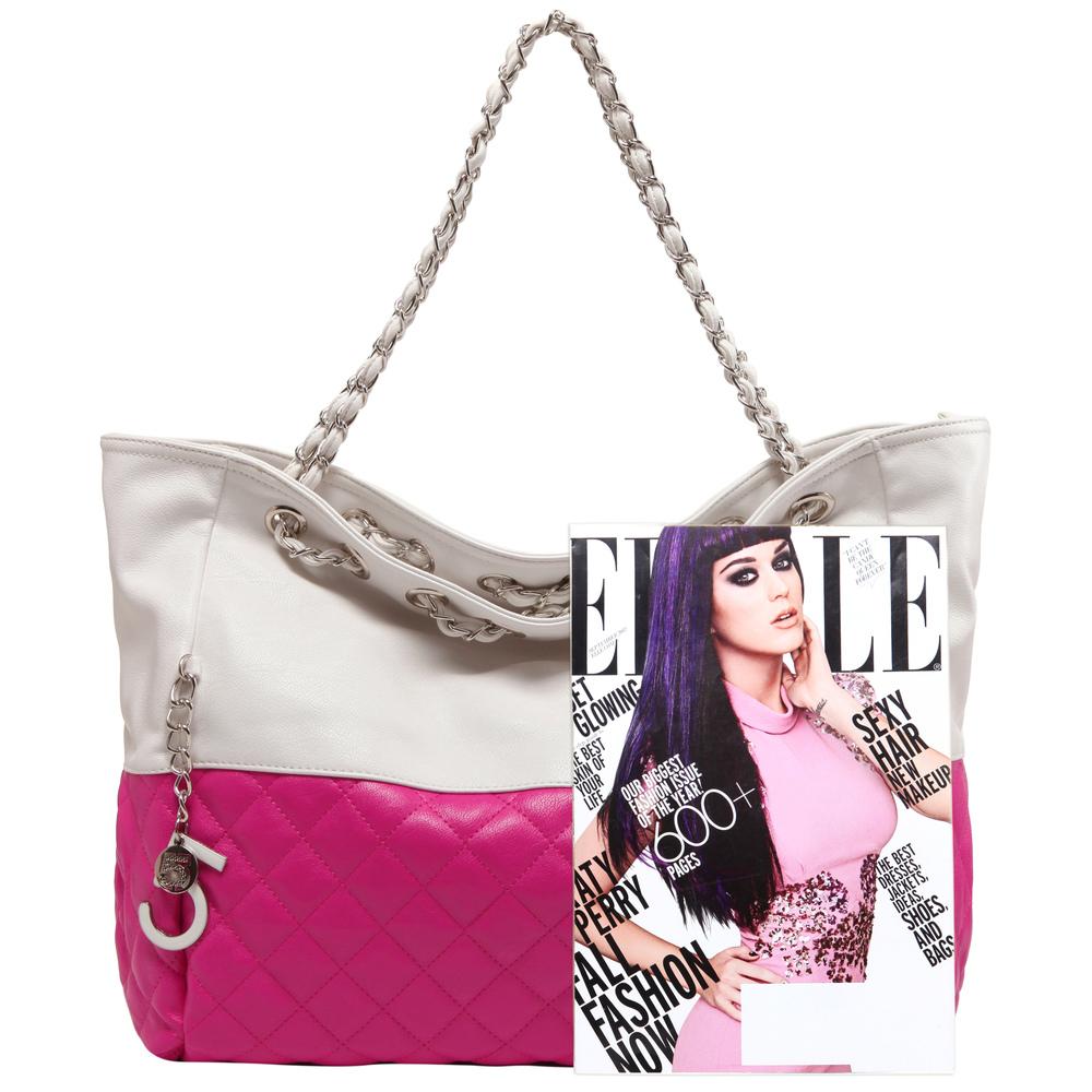 CAMRYN Pink Shoulder Tote Handbag Size