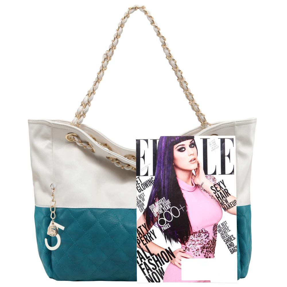 CAMRYN Turquoise Shoulder Weekender Tote Handbag size