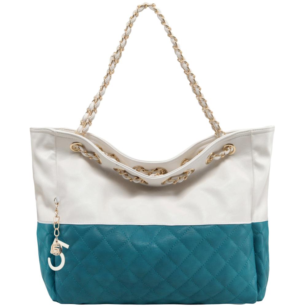 CAMRYN Turquoise Shoulder Weekender Tote Handbag front