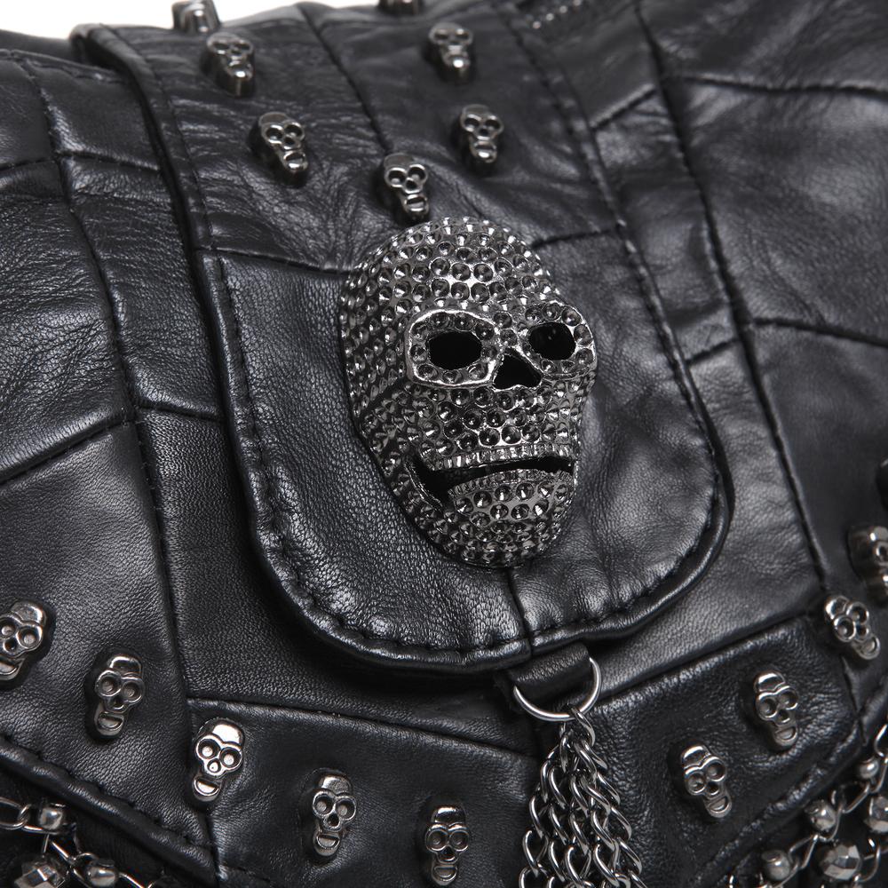 PARKIN Black Gothic Shoulder Bag skull closeup