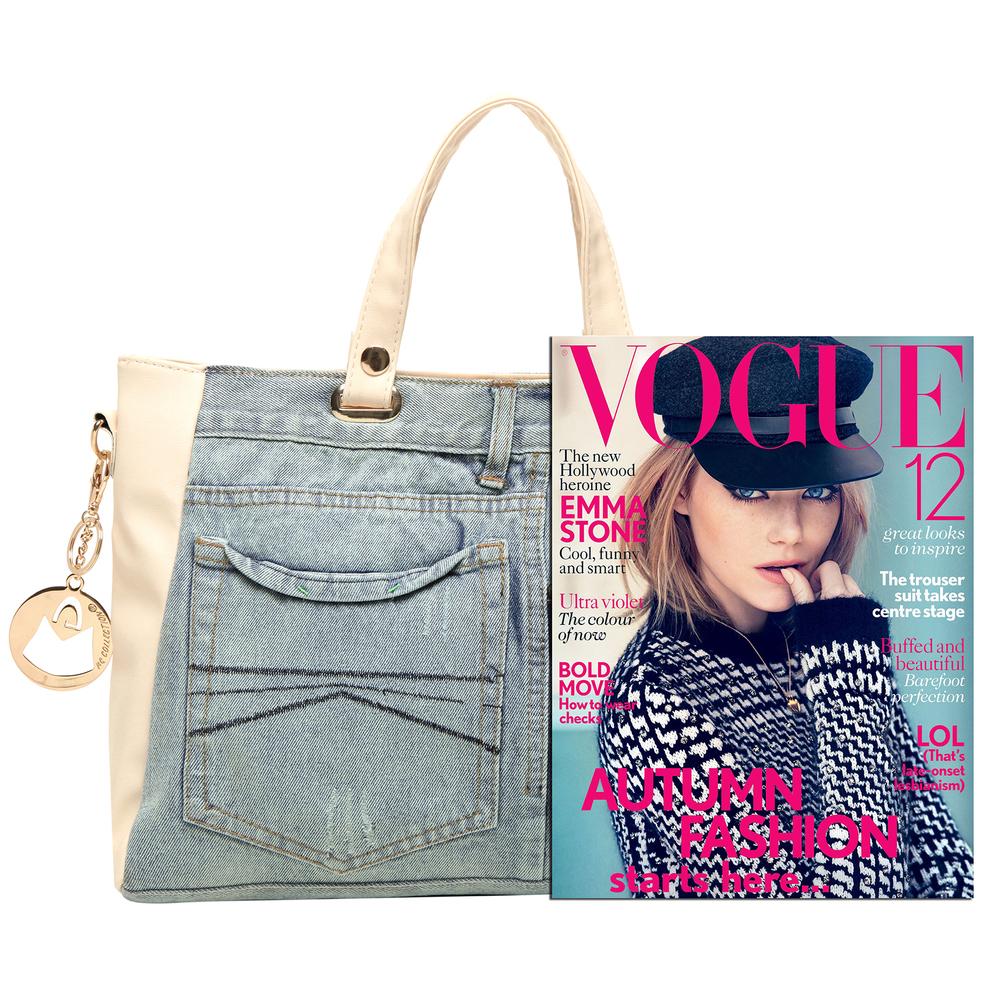 ASTA Beige & Blue Denim Jeans Handbag size