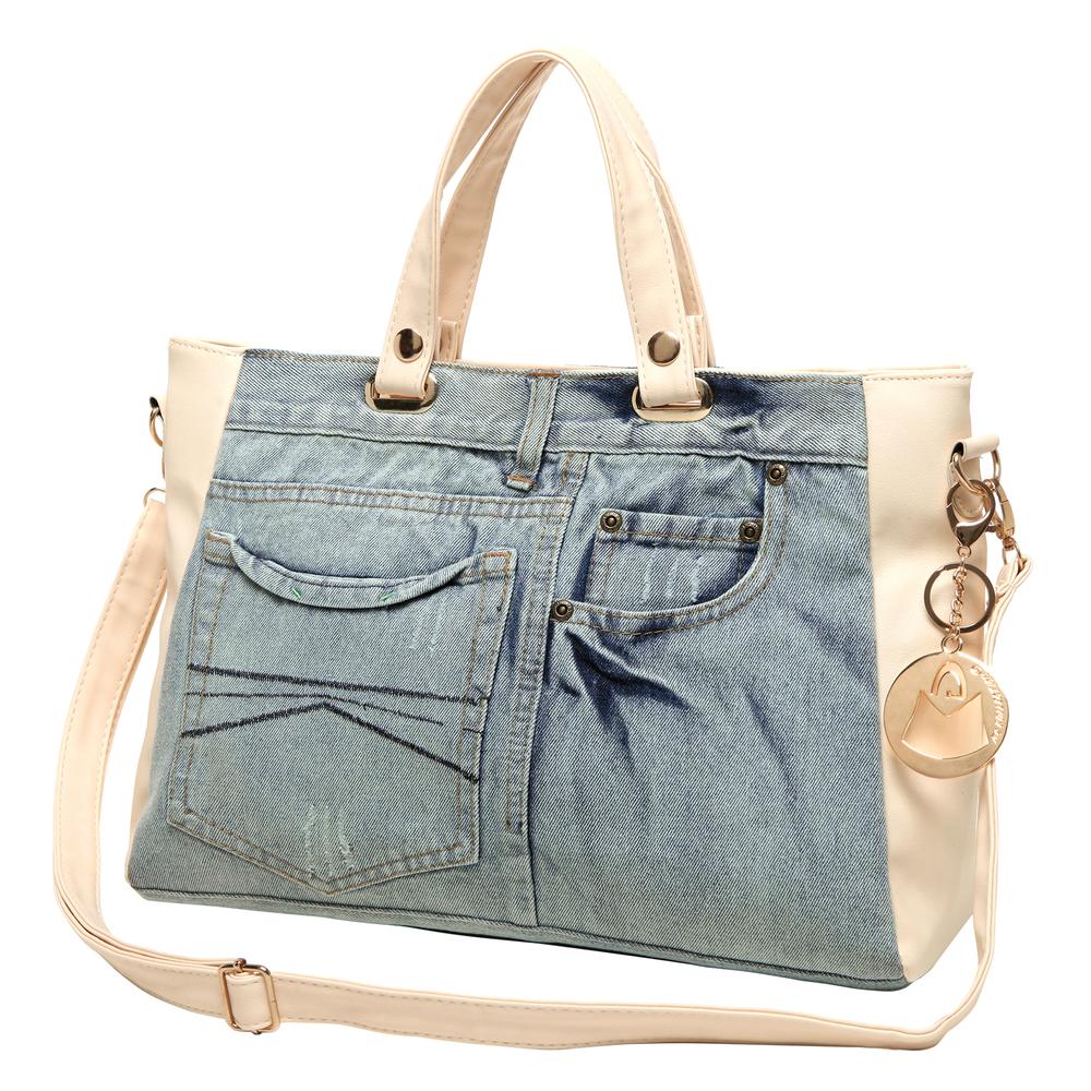ASTA Beige & Blue Denim Jeans Handbag front