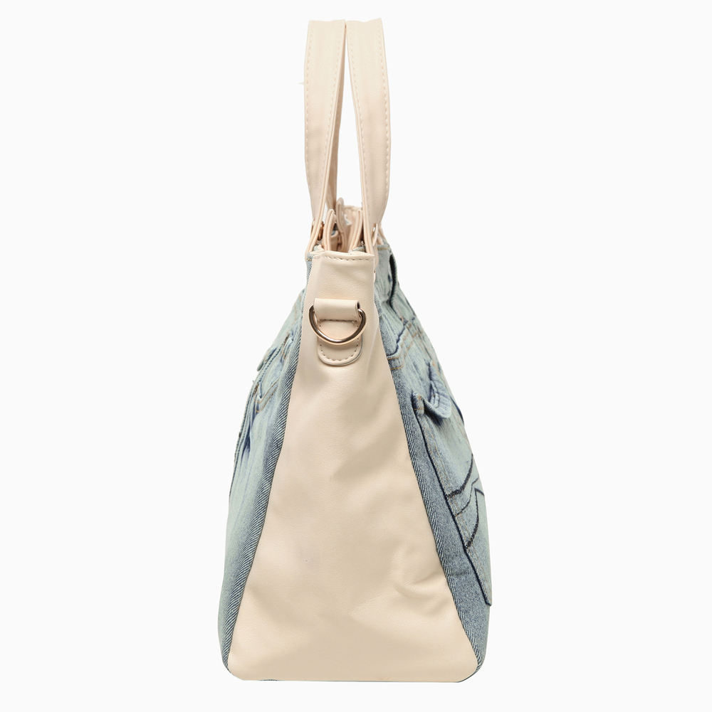 ASTA Beige & Blue Denim Jeans Handbag side