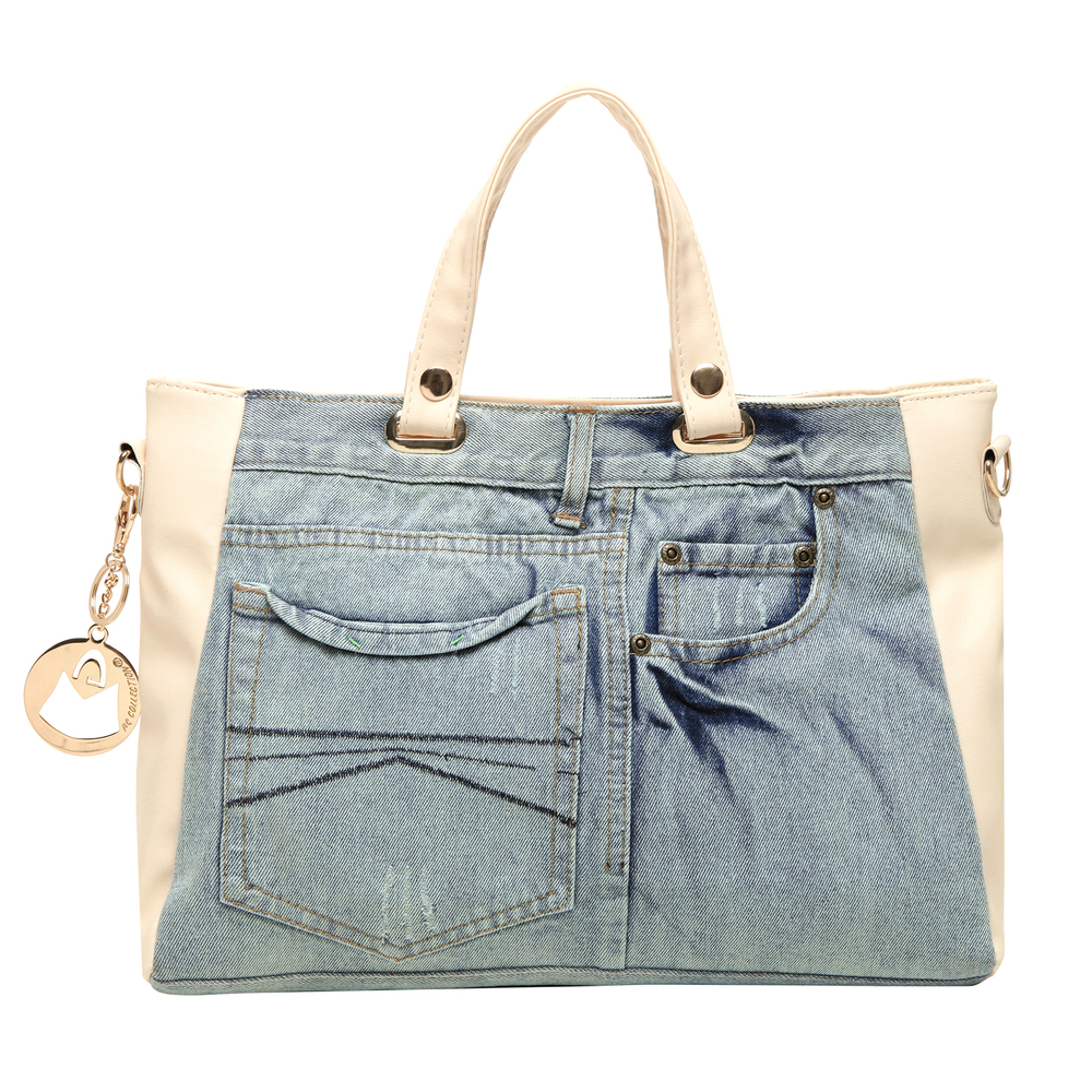 ASTA Beige & Blue Denim Jeans Handbag back
