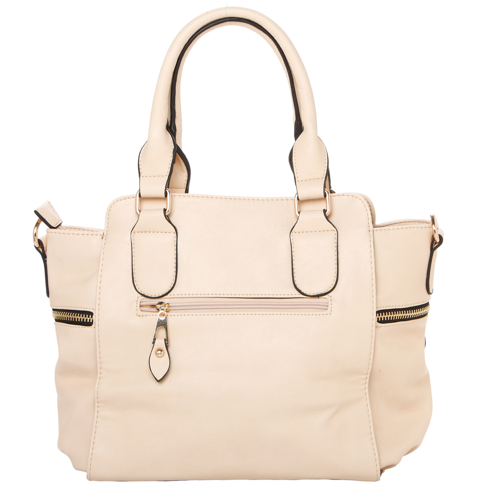 NORI Beige Top Handle Office Tote Style Satchel Handbag back