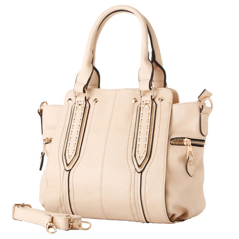 NORI Beige Top Handle Office Tote Style Satchel Handbag main