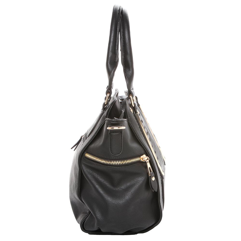 NORI Black Top Handle Office Tote Style Handbag side