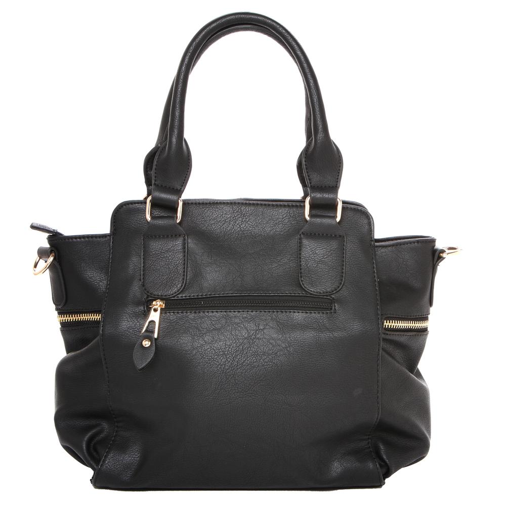 NORI Black Top Handle Office Tote Style Handbag back