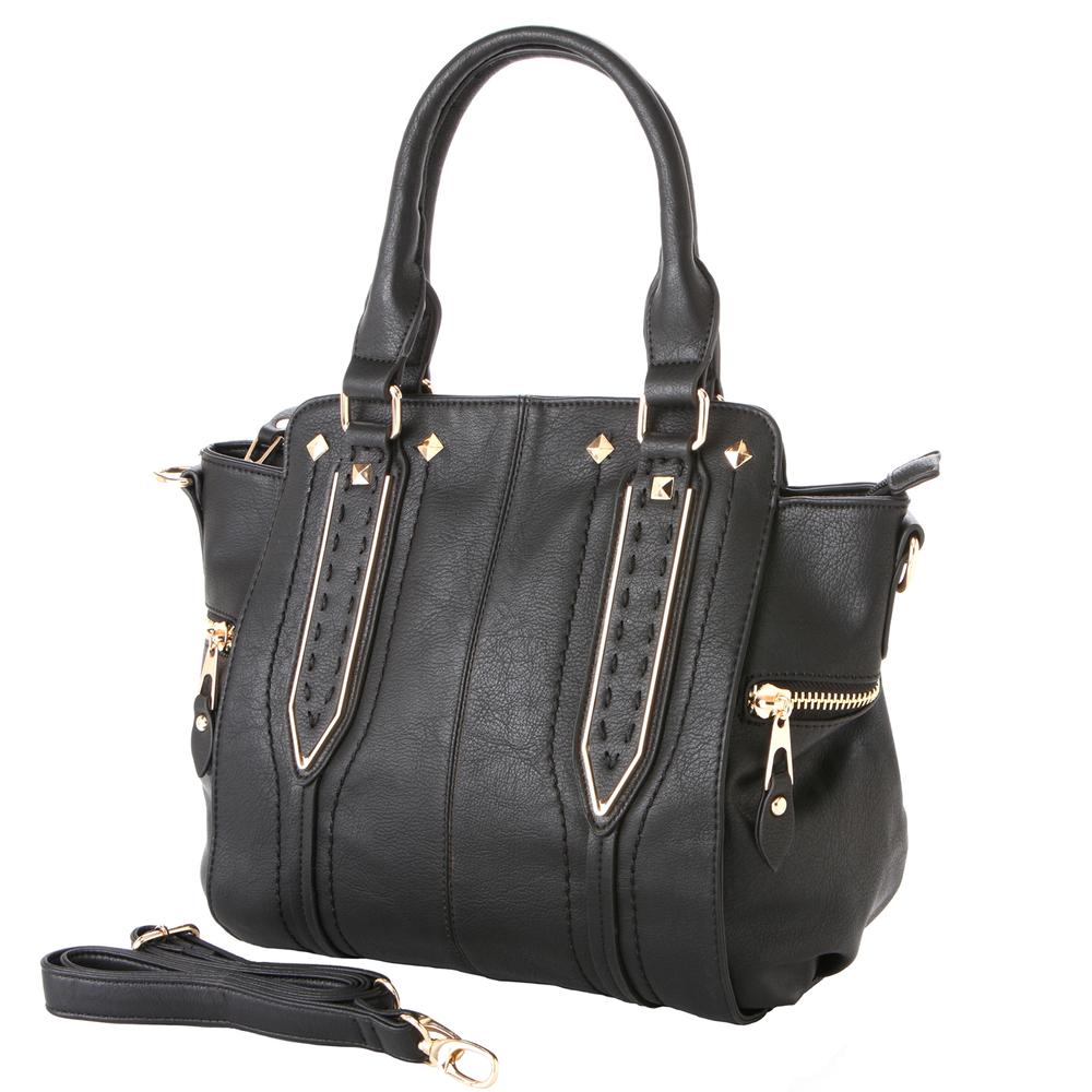 NORI Black Top Handle Office Tote Style Handbag main