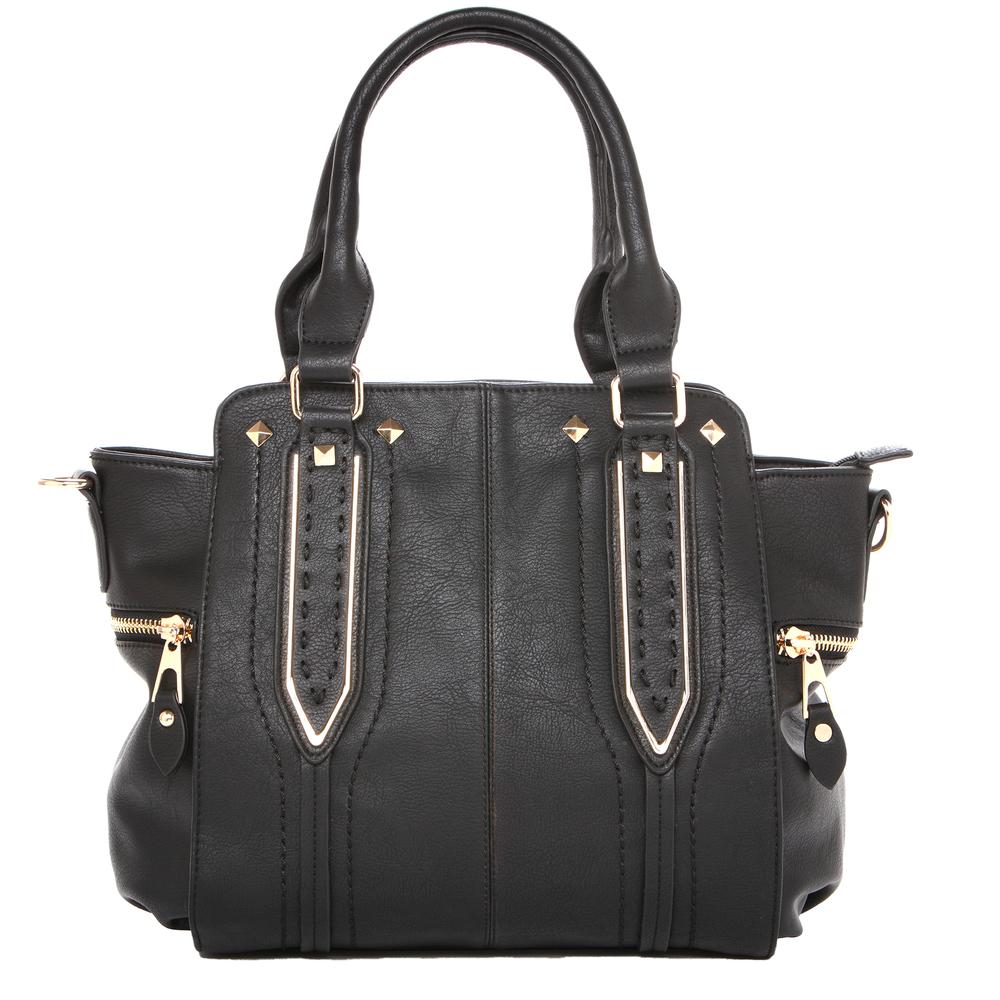 NORI Black Top Handle Office Tote Style Handbag front
