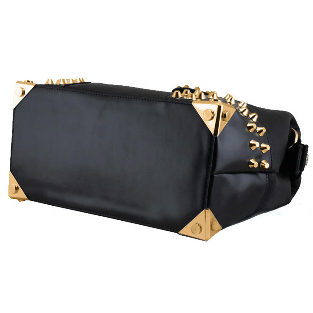 DARKO Black Gothic Gold Studded Doctor Style Office Tote Purse bottom