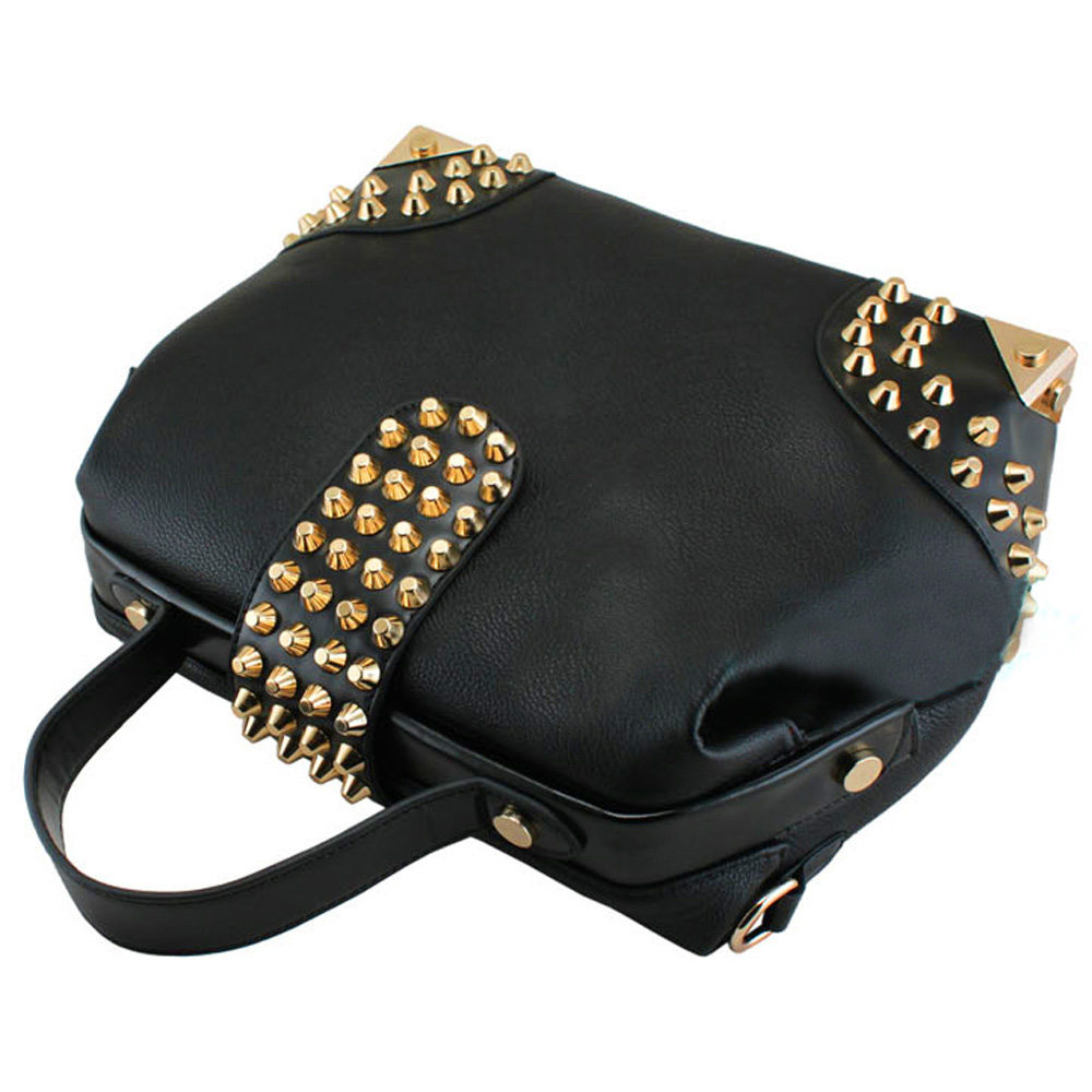 DARKO Black Gothic Gold Studded Doctor Style Office Tote Purse handle