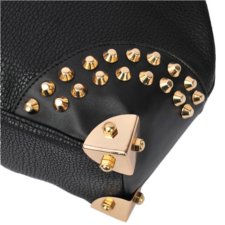 DARKO Black Gothic Gold Studded Doctor Style Office Tote Purse corner closeup