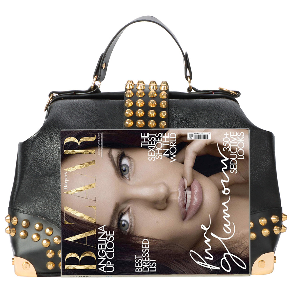 DARKO Black Gothic Gold Studded Doctor Style Office Tote Purse size