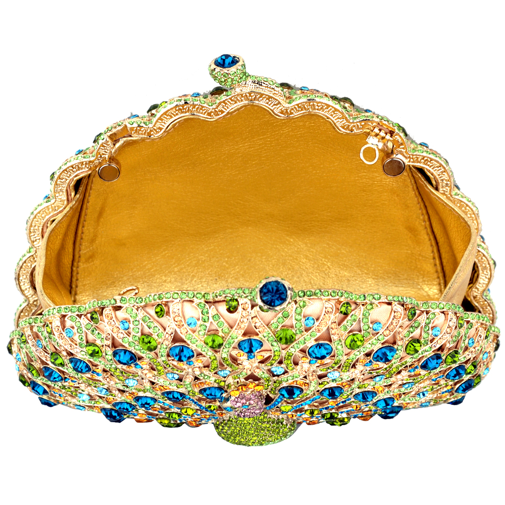 CLARA Green Crystal Peacock Evening Bag interior