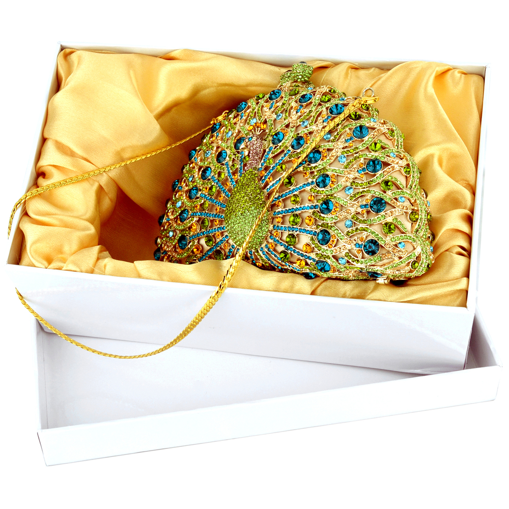 CLARA Green Crystal Peacock Evening Bag in box