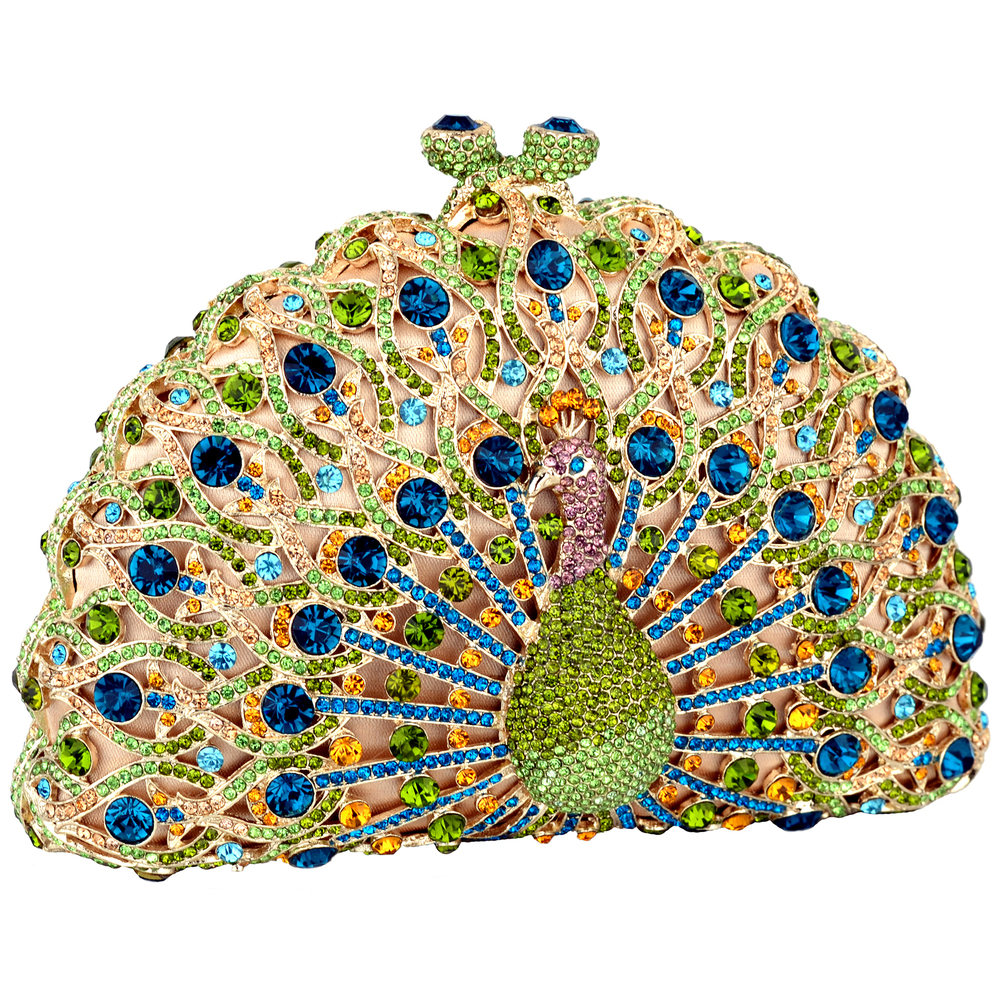 CLARA Green Crystal Peacock Evening Bag main