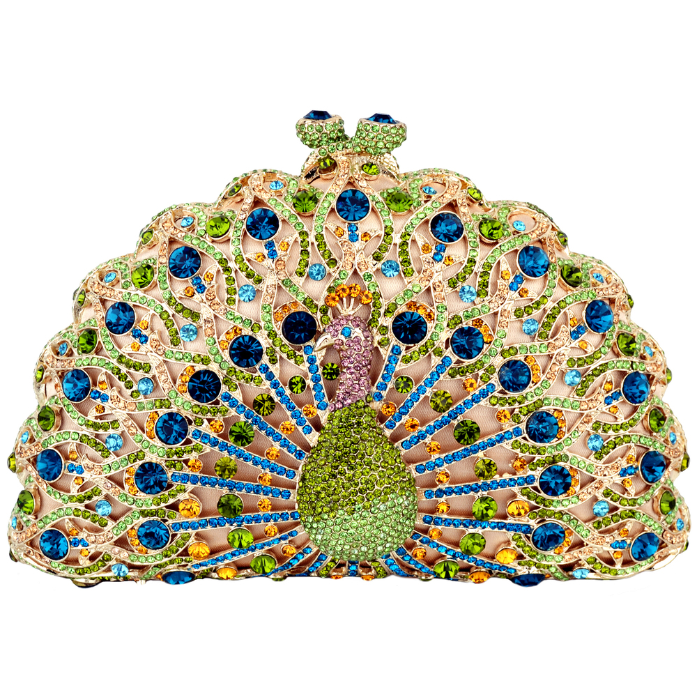 CLARA Green Crystal Peacock Evening Bag front