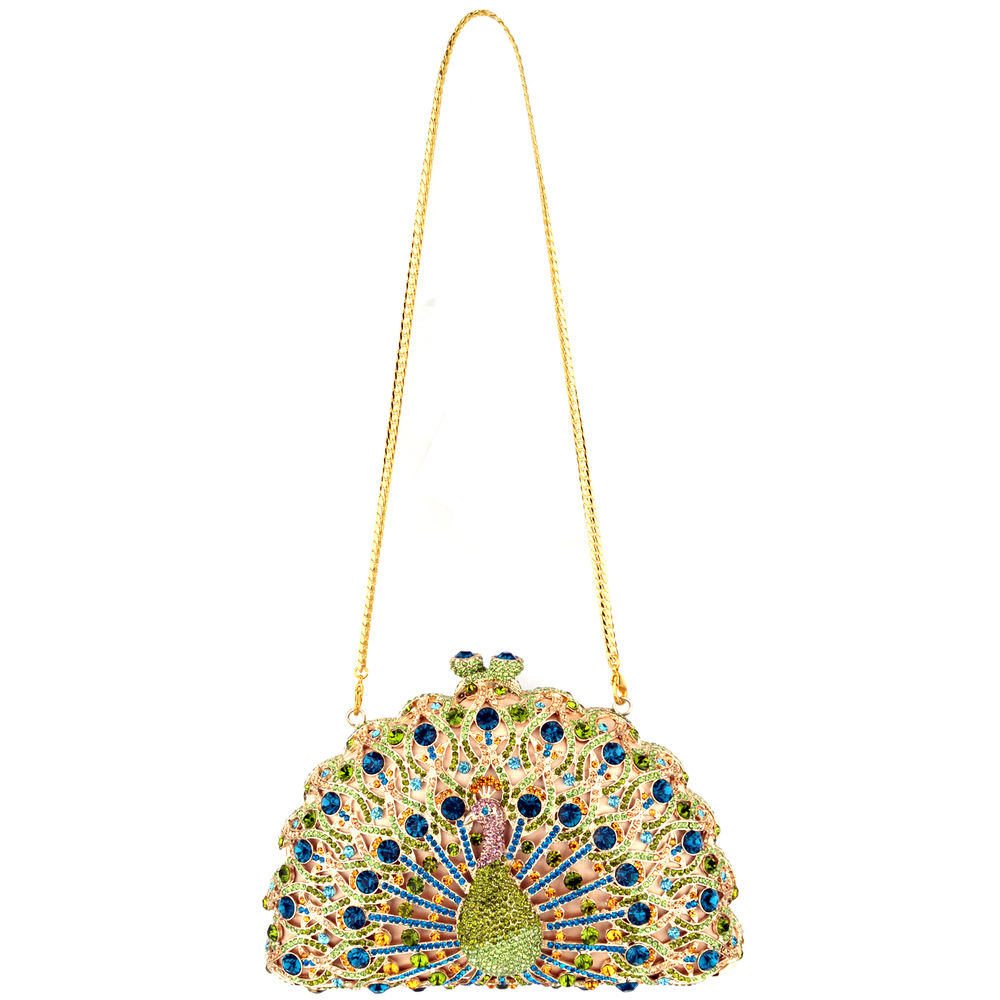 CLARA Green Crystal Peacock Evening Bag strap
