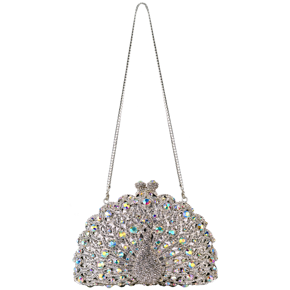 CLARA White Crystal Peacock Evening Bag strap
