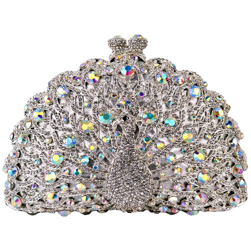 CLARA White Crystal Peacock Evening Bag main