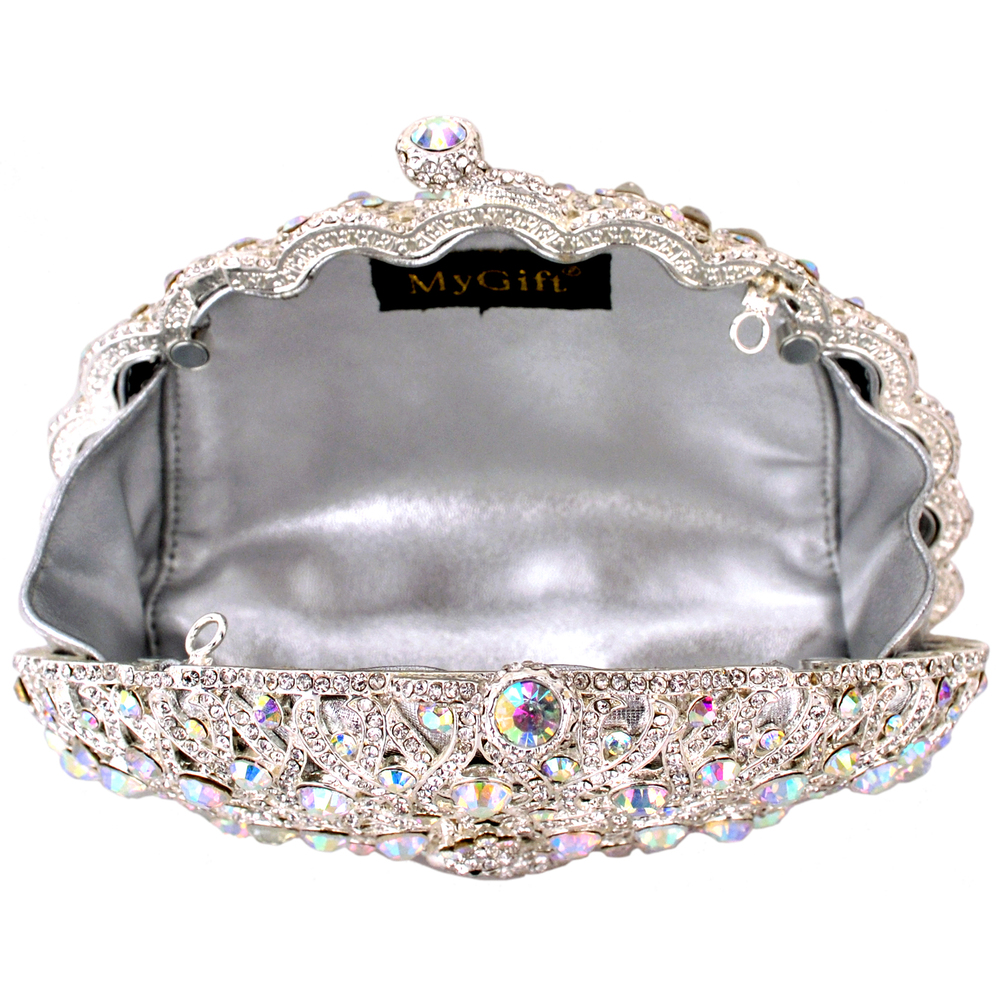 CLARA White Crystal Peacock Evening Bag interior