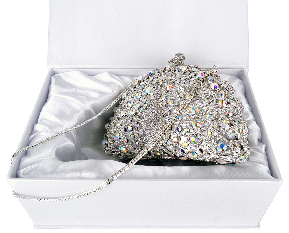 CLARA White Crystal Peacock Evening Bag in box