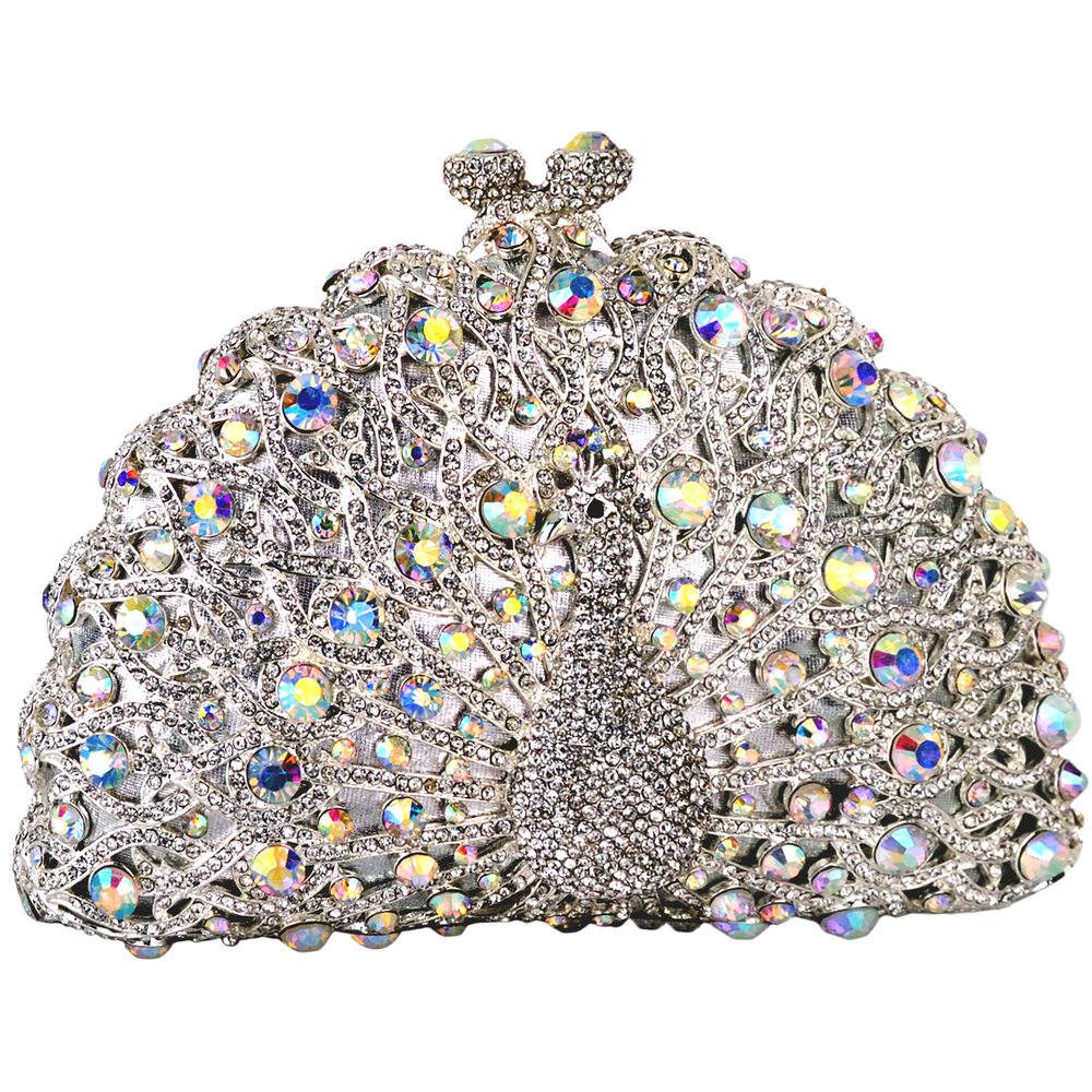 CLARA White Crystal Peacock Evening Bag front