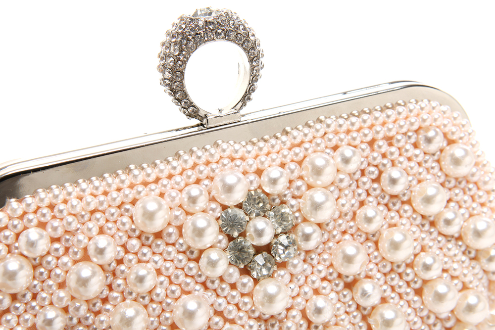 TIANA Champagne Pearl Rhinestone Evening Bag closeup