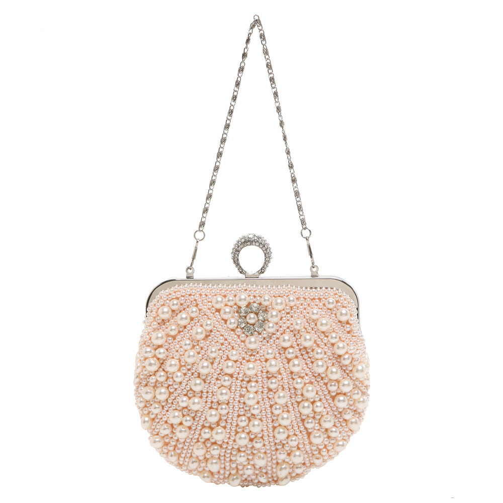 TIANA Champagne Pearl Rhinestone Evening Bag short strap