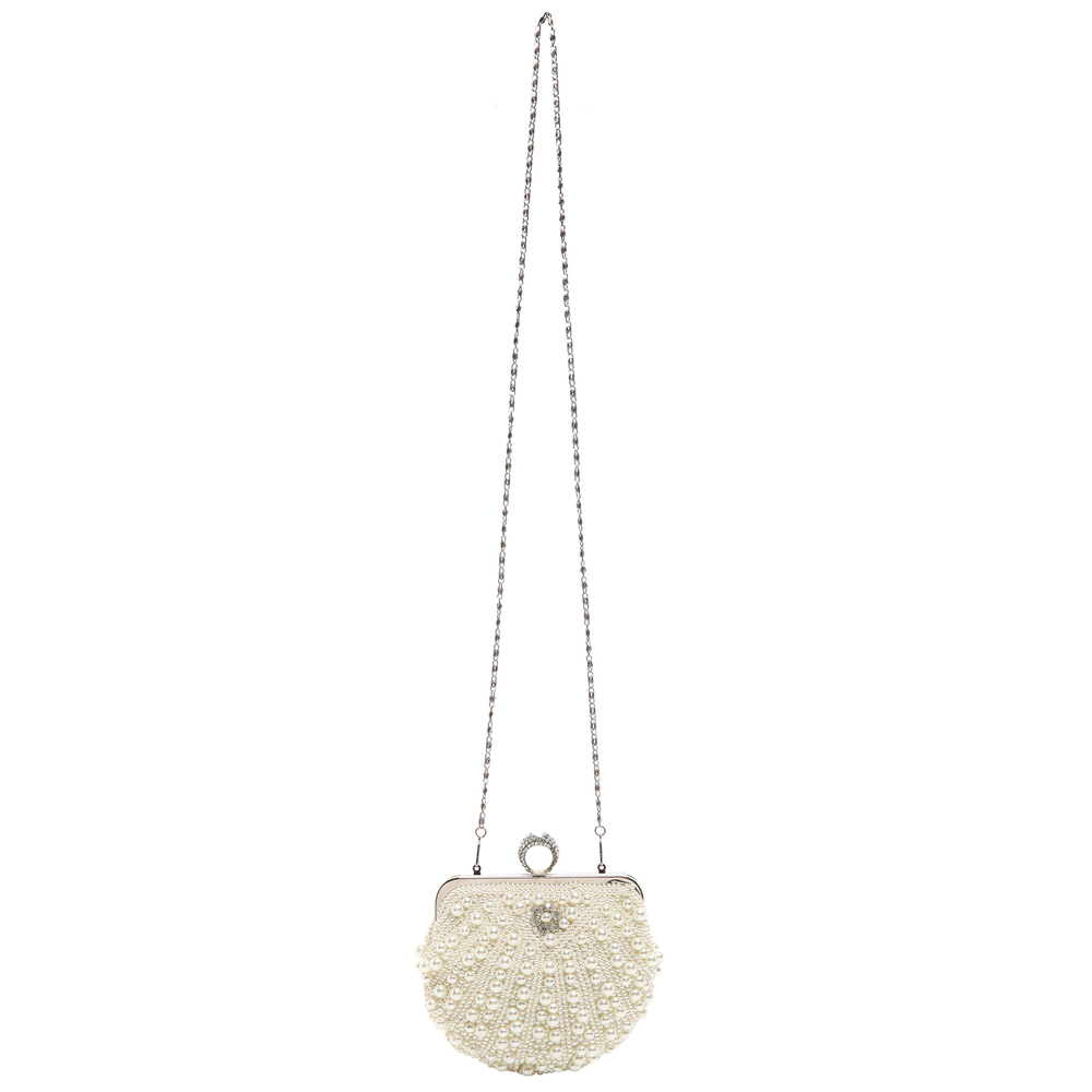 TIANA White Pearl Rhinestone Evening Bag long strap