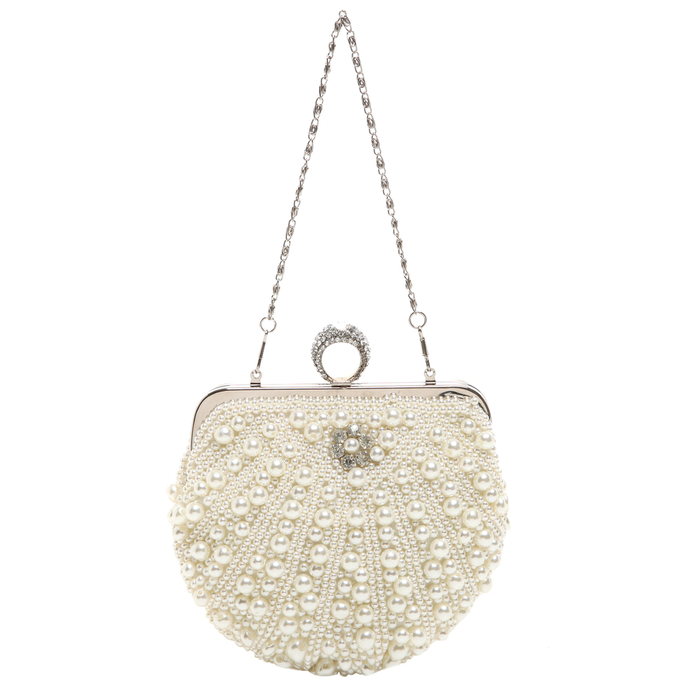 TIANA White Pearl Rhinestone Evening Bag short strap