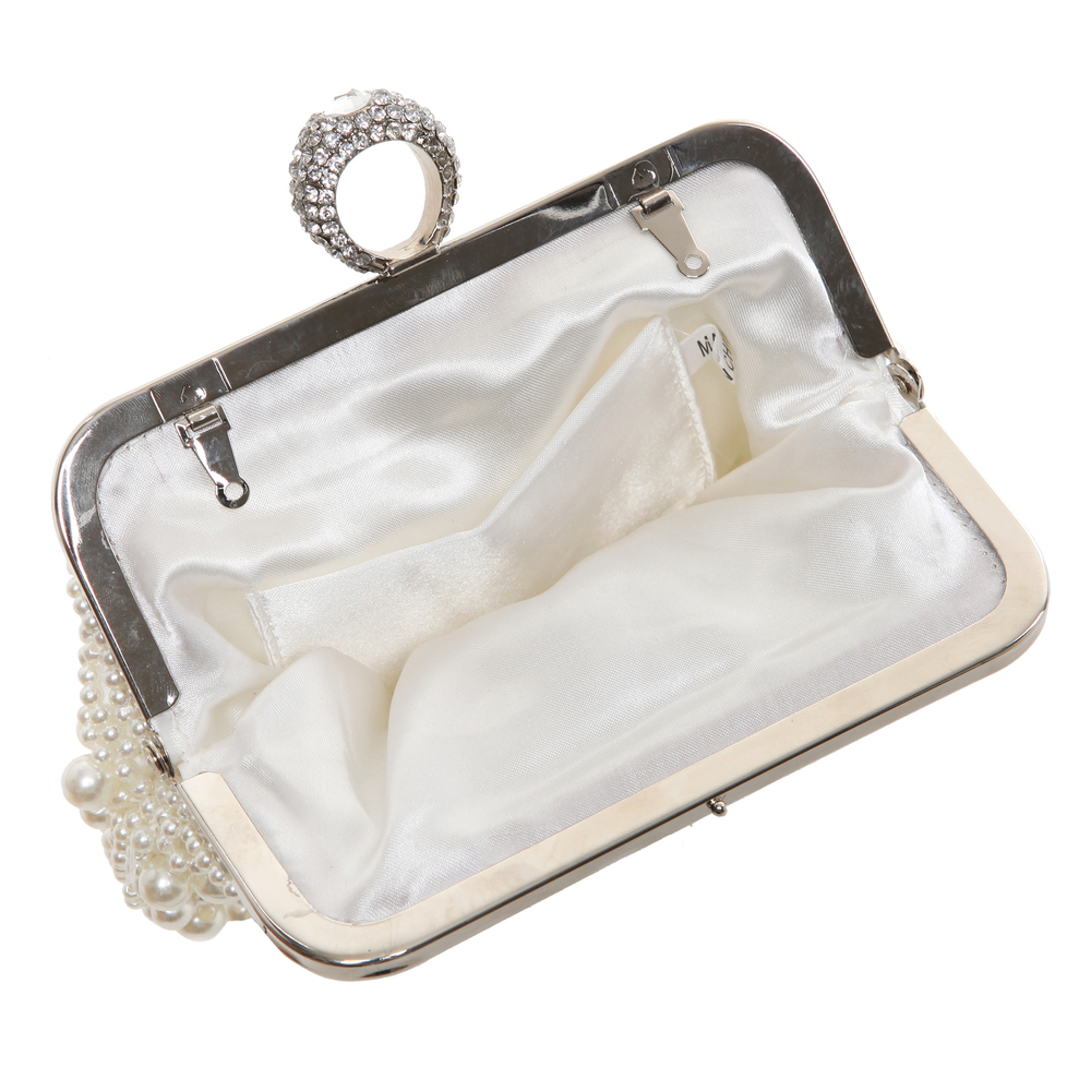 TIANA White Pearl Rhinestone Evening Bag interior