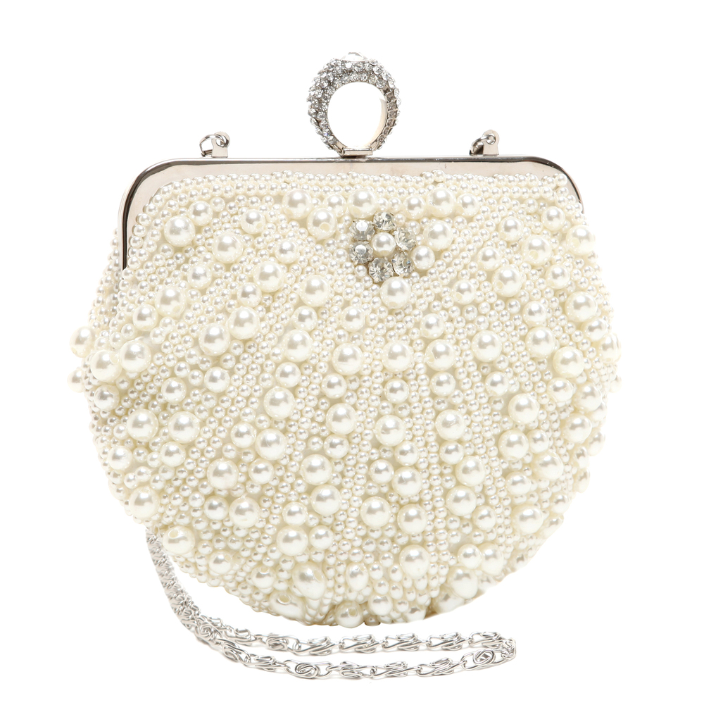 TIANA White Pearl Rhinestone Evening Bag main