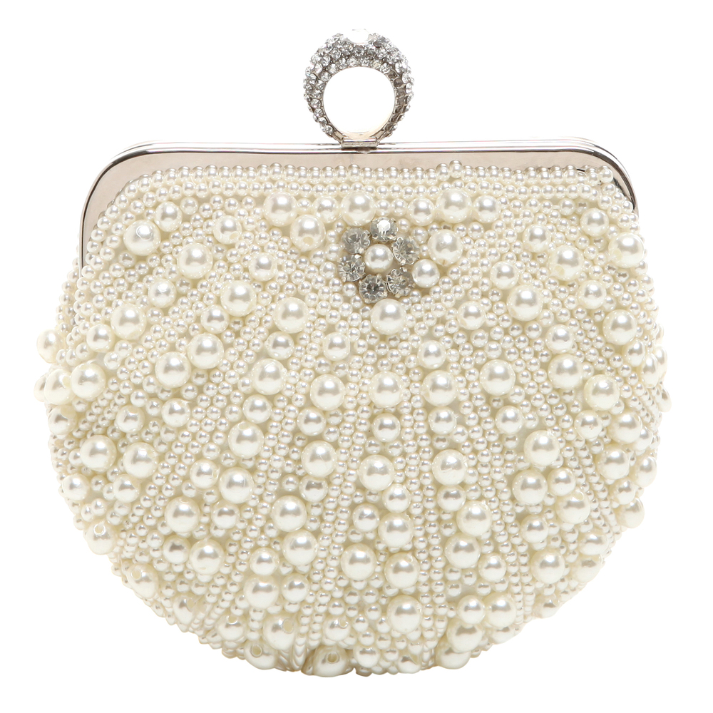 TIANA White Pearl Rhinestone Evening Bag front